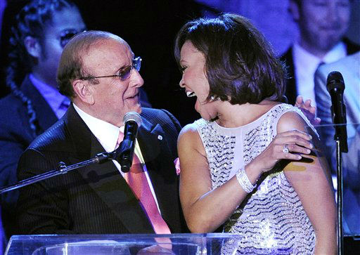 FILE - In this Feb. 13, 2011 file photo, producer Clive Davis shares a moment with singer Whitney Houston performs at the pre-Grammy gala &amp; salute to industry icons with Clive Davis honoring David Geffen in Beverly Hills, Calif. The demand is overwhelming for Clive Davis&#39; annual pre-Grammy gala. The gala has featured performances from top acts like Whitney Houston, Aretha Franklin and Carlos Santana. This year, The Kinks will take the stage to play a medley of their hits, with the help of Jackson Browne and Elvis Costello. Mumford &amp; Sons are hoping to arrive in time to get in on the performance, Davis said. &#40;AP Photo&#47;Mark J. Terrill, file&#41; <span class=meta>(AP Photo&#47; Mark J. Terrill)</span>