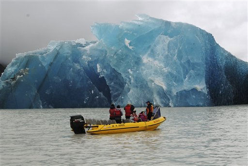 A group of people travel with Glacier Explorers to see one of the many icebergs that caved into Tasman Lake as a result of the 6.3 earthquake in Christchurch, New Zealand, Tuesday, February 22, 2011. The quake hit at the height of a busy workday, toppling tall buildings and churches, crushing buses and killing dozens of people in one of the country&#39;s worst natural disasters. &#40;AP Photo&#47;NZPA, Denis Callesen&#41; NEW ZEALAND OUT, NO ARCHIVES, NO SALES <span class=meta>(AP Photo&#47; Denis Callesen)</span>