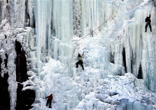 Ice climbers are seen climbing a wall of ice, Tuesday, Feb. 22, 2011 in Harts Location, N.H. &#40;AP Photo&#47;Jim Cole&#41; <span class=meta>(AP Photo&#47; Jim Cole)</span>