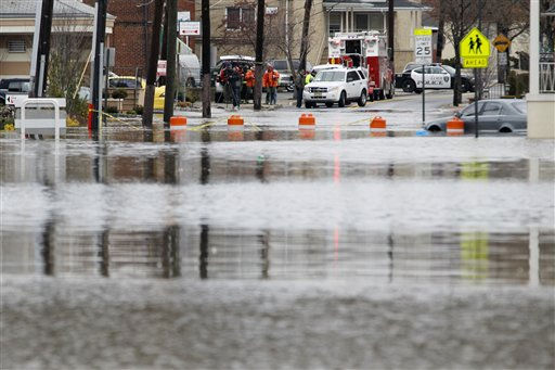 High water is seen on Main Street in Lodi, New Jersey, where the accumulated water from an overnight storm forced the closure of the street, Monday, March 7, 2011, in Lodi, N.J. &#40;AP Photo&#47;Julio Cortez&#41; <span class=meta>(AP Photo&#47; Julio Cortez)</span>