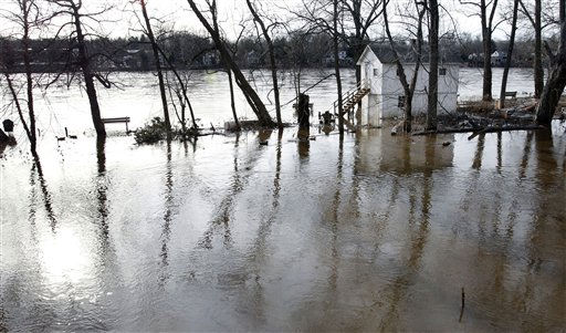 A small house is surrounded by water Tuesday, March 8, 2011 in Lambertville, NJ., after recent rains have forced the Delaware River over its banks. Relief from flooding that has closed roads and forced dozens of evacuations in parts of New Jersey might be short-lived.  Forecasters have said another 1 to 3 inches of rain could soak the state Thursday and cause flooding into Friday evening. &#40;AP Photo&#47;Mel Evans&#41; <span class=meta>(AP Photo&#47; Mel Evans)</span>