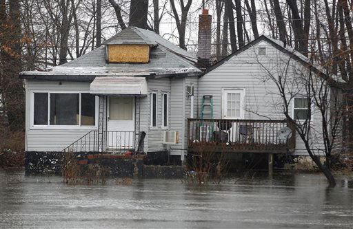 High waters are seen near a home along the Passaic River as a storm threatens residents with more flooding, Thursday, March 10, 2011, in Fairfield, N.J. &#40;AP Photo&#47;Julio Cortez&#41; <span class=meta>(AP Photo&#47; Julio Cortez)</span>