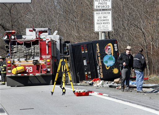 Emergency personnel investigate the scene of a bus crash on Interstate-95 in the Bronx borough of New York Saturday, March 12, 2011. Thirteen people died when the bus, returning to New York from a casino in Connecticut, flipped onto its side and was sliced in half by the support pole for a large sign. &#40;AP Photo&#47;David Karp&#41; <span class=meta>(AP Photo&#47; David Karp)</span>