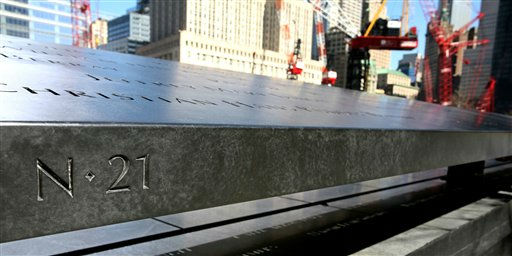 This March 2011 photo provided by the National September 11 Memorial &amp; Museum shows a detail of the monument at New York&#39;s World Trade Center site bearing the names of those who perished there in the Sep. 11, 2001 attacks. The arrangement of nearly 3,000 names around two waterfall-filled pools is based on the victims&#39; personal connections. Because the names aren&#39;t alphabetical, handheld devices and electronic kiosks will be needed to direct families to their loved one&#39;s name.  &#40;AP Photo&#47;National September 11 Memorial &amp; Museum&#41; <span class=meta>(AP Photo&#47; Anonymous)</span>