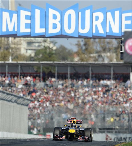 Red Bull Formula One driver Sebastian Vettel of Germany races down the straight during the Australian Formula One Grand Prix in Melbourne, Australia, Sunday, March 27, 2011. &#40;AP Photo&#47;Rob Griffith&#41; <span class=meta>(AP Photo&#47; Rob Griffith)</span>