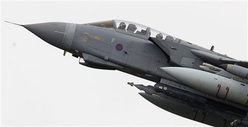 "<div class=""meta ""><span class=""caption-text "">A Royal Air Force Tornado takes off from the RAF base at Marham, England,  Monday, March, 21, 2011. In an interview with BBC Radio, Britain's Foreign Secretary William Haig said that any United Kingdom or coalition moves against the Libyan regime of Colonel Gadhafi will be consistent with the U.N. Security Council resolution  -""the bible"" for engagements such as this and stressed that he did not detect a weakening of Arab nations' support for the military engagement.(AP Photo/Alastair Grant) (AP Photo/ Alastair Grant)</span></div>"