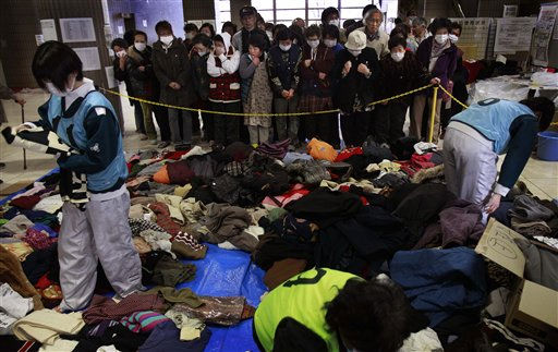 "<div class=""meta ""><span class=""caption-text "">Evacuees wait to get second-hand clothing at a shelter for leaked radiation from the damaged Fukushima nuclear plant, Thursday, March 24, 2011 in Fukushima, Fukushima prefecture, Japan. Radiation has seeped into raw milk, seawater and 11 kinds of vegetables, including broccoli, cauliflower and turnips, grown in areas around the plant. (AP Photo/Wally Santana) (AP Photo/ Wally Santana)</span></div>"