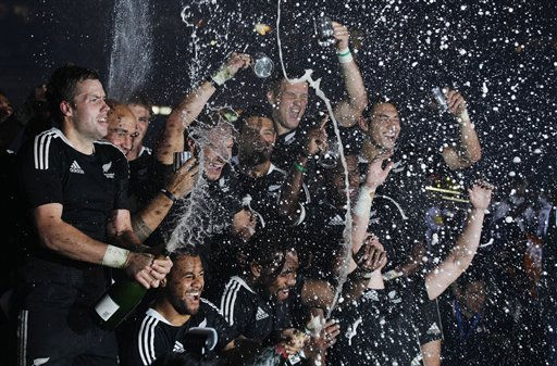 New Zealand players celebrate after winning the Hong Kong Sevens rugby tournament in Hong Kong Sunday, March 27, 2011.  &#40;AP Photo&#47;Kin Cheung&#41; <span class=meta>(AP Photo&#47; Kin Cheung)</span>