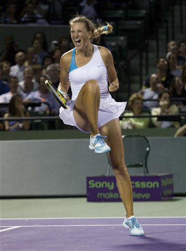 Victoria Azarenka, of Belarus, celebrates after defeating Dominika Cibulkova, of Slovakia, at the Sony Ericsson Open tennis tournament in Key Biscayne, Fla., Sunday March 27, 2011. Azarenka won 3-6, 6-3, 6-4. &#40;AP Photo&#47;J Pat Carter&#41; <span class=meta>(AP Photo&#47; J Pat Carter)</span>