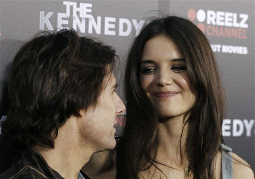 "<div class=""meta image-caption""><div class=""origin-logo origin-image ""><span></span></div><span class=""caption-text"">Cast member Katie Holmes, right, and Tom Cruise arrive at the premiere of ""The Kennedys"" at The Academy of Motion Pictures Arts and Sciences in Beverly Hills, Calif. on Monday, March 28, 2011. ""The Kennedys"", an 8-part mini-series, will premiere on ReelzChannel on April 3 . (AP Photo/Matt Sayles) (AP Photo/ Matt Sayles)</span></div>"