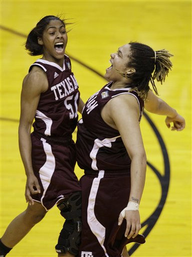 Texas A&#38;M players Sydney Colson, left, and Danielle Adams celebrate their 63-62 win over Stanford in a women&#39;s NCAA Final Four semifinal college basketball game in Indianapolis, Sunday, April 3, 2011. &#40;AP Photo&#47;Amy Sancetta&#41; <span class=meta>(AP Photo&#47; Amy Sancetta)</span>
