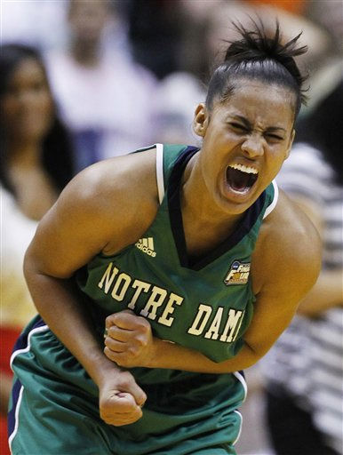 "<div class=""meta ""><span class=""caption-text "">Notre Dame's Skylar Diggins celebrates after her team's 72-63 win over Connecticut in a women's NCAA Final Four semifinal college basketball game in Indianapolis, Sunday, April 3, 2011. (AP Photo/Michael Conroy) (AP Photo/ Michael Conroy)</span></div>"