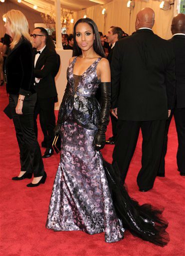 "Kerry Washington attends The Metropolitan Museum of Art Costume Institute gala benefit, ""Punk: Chaos to Couture"", on Monday, May 6, 2013 in New York. (Photo by Evan Agostini/Invision/AP)"