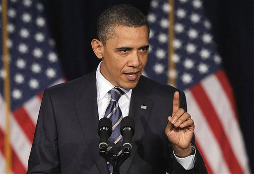 President Barack Obama outlines his fiscal policy during an address at George Washington University in Washington, Wednesday, April 13, 2011.  &#40;AP Photo&#47;Charles Dharapak&#41; <span class=meta>(AP Photo&#47; Charles Dharapak)</span>