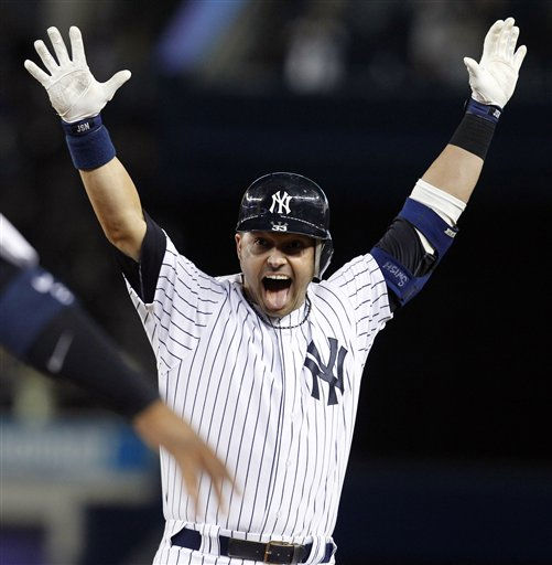 "<div class=""meta ""><span class=""caption-text "">New York Yankees' Nick Swisher reacts after teammate Mark Teixeira scored on his 10th-inning sacrifice fly to lift the Yankees to a 6-5 victory over the Baltimore Orioles in a baseball game at Yankee Stadium, Thursday, April 14, 2011, in New York. (AP Photo/Kathy Willens) (AP Photo/ Kathy Willens)</span></div>"