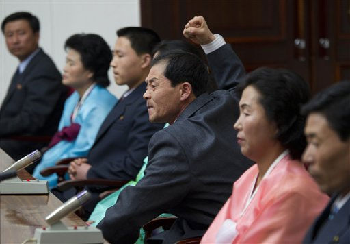 "<div class=""meta ""><span class=""caption-text "">North Korean Ok Song Hyok speaks to the North Korean and international media at a press conference in Pyongyang, North Korea, Thursday, April 21, 2011. Weeping and shaking their fists, North Koreans released last month after being held by South Korea for 50 days claimed Thursday that they were beaten, kept in prison-like barracks and pressured to defect after the South Korean coastguard raided and seized their fishing boat. (AP Photo/David Guttenfelder) (AP Photo/ David Guttenfelder)</span></div>"