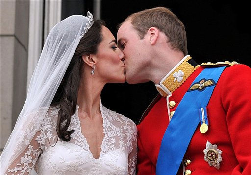 "<div class=""meta image-caption""><div class=""origin-logo origin-image ""><span></span></div><span class=""caption-text"">Prince William and his wife Kate, Duchess of Cambridge, kiss on the balcony of Buckingham Palace in London,Friday April 29, 2011, following their wedding at Westminster Abbey. (AP Photo/John Stillwell, Pool) (AP Photo/ John Stillwell)</span></div>"