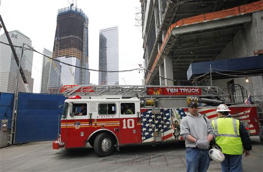 A truck from Ladder Company 10 leaves a firehouse at the World Trade Center, Monday, May 2, 2011 in New York. The firehouse lost five men in the Sept. 11, 2001 attacks. &#40;AP Photo&#47;Mark Lennihan&#41; <span class=meta>(AP Photo&#47; Mark Lennihan)</span>
