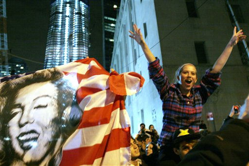 "<div class=""meta ""><span class=""caption-text "">People celebrate at ground zero in New York Monday May. 2, 2011 after President Barack Obama announced Sunday night, May 1, 2011, that Osama bin Laden was killed in an operation led by the United States.  (AP Photo/Santiago Lyon) (AP Photo/ Santiago Lyon)</span></div>"