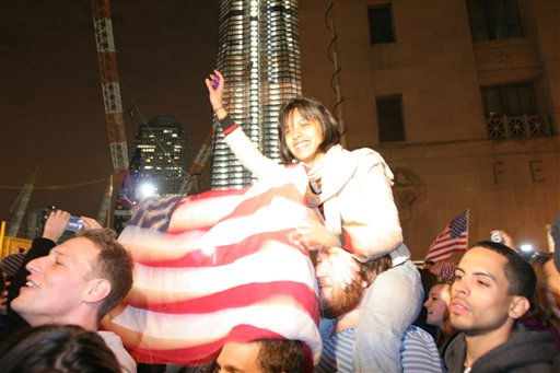 People celebrate at ground zero in New York Monday May. 2, 2011 after President Barack Obama announced Sunday night, May 1, 2011, that Osama bin Laden was killed in an operation led by the United States.  &#40;AP Photo&#47;Santiago Lyon&#41; <span class=meta>(AP Photo&#47; Santiago Lyon)</span>