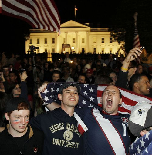 Crowds celebrate on Pennsylvania Avenue in front of the White House in Washington, early Monday, May 2, 2011, after President Barack Obama announced that Osama bin Laden had been killed. &#40;AP Photo&#47;Charles Dharapak&#41; <span class=meta>(AP Photo&#47; Charles Dharapak)</span>