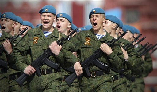 Russian paratroopers march during the Victory Day Parade, which commemorates the 1945 defeat of Nazi Germany in Moscow,  Russia, Monday, May 9, 2011. &#40;AP Photo&#47;Alexander Zemlianichenko&#41; <span class=meta>(AP Photo&#47; Alexander Zemlianichenko)</span>
