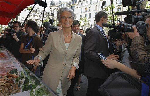 France&#39;s Finance and Economy Minister Christine Lagarde visits a Parisian supermarket and goods retailer in Paris Thursday  May 19, 2011.  Lagarde has emerged as a potential candidate to replace IMF chief, Frenchman Dominique Strauss-Kahn who resigned Wednesday, saying he wants to devote &#34;all his energy&#34; to fighting sexual assault charges in New York.  &#40;AP Photo&#47;Jacques Brinon&#41; <span class=meta>(AP Photo&#47; Jacques Brinon)</span>