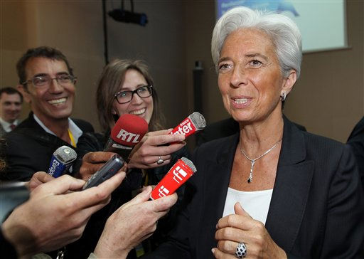 France&#39;s Finance and Economy Minister Christine Lagarde speaks to journalists during a G20 Globalization conference in Paris, France, Monday May 23, 2011. The Netherlands has thrown its support behind French finance minister Christine Lagarde as the next head of the International Monetary Fund. &#40;AP Photo&#47;Bob Edme, Pool&#41; <span class=meta>(Photo&#47;Bob Edme)</span>