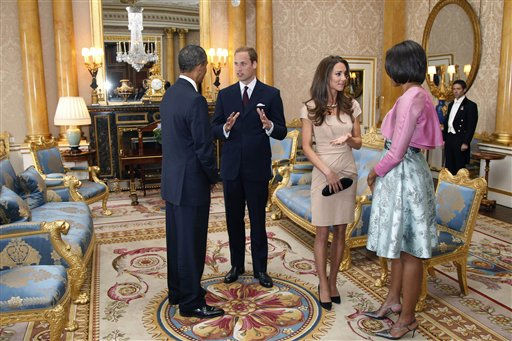 ** CORRECTS THE LEFT TO RIGHT  **  U.S. President Barack Obama, left, and first lady Michelle Obama, right, meet with Britain&#39;s Prince William and the Duchess of Cambridge, second right, at Buckingham Palace in London, Tuesday, May 24, 2011. &#40;AP Photo&#47;Charles Dharapak, Pool&#41; <span class=meta>(AP Photo&#47; Charles Dharapak)</span>