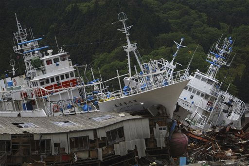 Fishing boats are washed ashore in an area devastated by the March 11 earthquake and tsunami in Kesennuma, Miyagi Prefecture, northeastern Japan, Tuesday, May 24, 2011. &#40;AP Photo&#47;Junji Kurokawa&#41; <span class=meta>(AP Photo&#47; Junji Kurokawa)</span>
