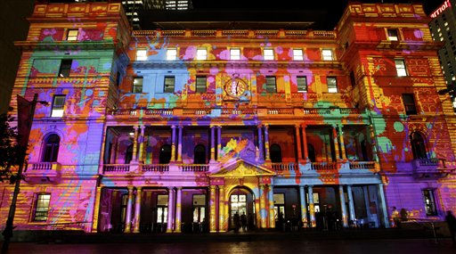 Customs House is illuminated with a theme called the Electric Canvas during the Sydney Vivid Light festival in Sydney, Australia, Thursday, May 26, 2011. The festival is about light, music and ideas. Different forms of lighting are used to turn icons and buildings into works of art. &#40;AP Photo&#47;Rob Griffith&#41; <span class=meta>(AP Photo&#47; Rob Griffith)</span>