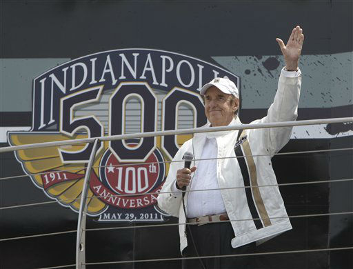 Jim Nabors waves before singing &#34;Back Home Again in Indiana&#34; beforethe Indianapolis 500 auto race at the Indianapolis Motor Speedway in Indianapolis, Sunday, May 29, 2011. &#40;AP Photo&#47;Jeff Roberson&#41; <span class=meta>(AP Photo&#47; Jeff Roberson)</span>