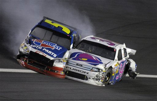 David Gilliland &#40;34&#41; and Mark martin &#40;5&#41; crash in Turn 4 during the NASCAR Sprint Cup series Coca-Cola 600 auto race in Concord, N.C., Sunday, May 29, 2011. &#40;AP Photo&#47;Mike McCarn&#41; <span class=meta>(AP Photo&#47; Mike McCarn)</span>