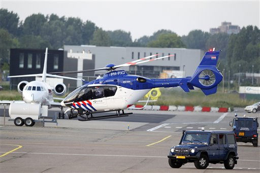 A helicopter believed to be carrying war crimes suspect Ratko Mladic departs Rotterdam Airport, Netherlands, after he arrived on a flight from Belgrade, Serbia, Tuesday, May 31, 2011. Mladic is on his way to The Hague, the Serbian justice minister said, just hours after judges rejected his appeal Tuesday to stop his extradition to a U.N. tribunal.  &#40;AP Photo&#47;Bas Czerwinski&#41; <span class=meta>(AP Photo&#47; BAS CZERWINSKI)</span>