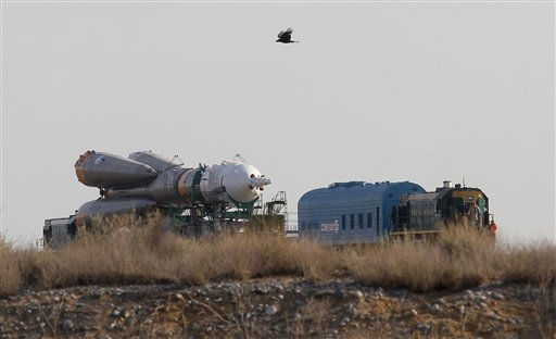 "<div class=""meta image-caption""><div class=""origin-logo origin-image ""><span></span></div><span class=""caption-text"">The Russian Soyuz TMA-02M space ship that will carry new crew to the International Space Station, ISS,  is transported from hangar to the launch pad at the Russian leased Baikonur cosmodrome, Kazakhstan, Sunday, June 5, 2011. The start of the new Soyuz mission to the International Space Station is scheduled on Wednesday, June 8. (AP Photo/Dmitry Lovetsky) (AP Photo/ Dmitry Lovetsky)</span></div>"