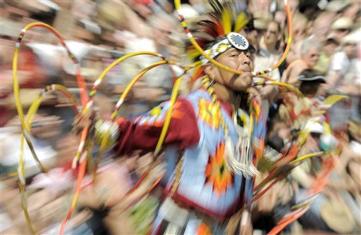 "<div class=""meta image-caption""><div class=""origin-logo origin-image ""><span></span></div><span class=""caption-text"">Lowery Begay, a member of the Navajo tribe, performs a hoop dance during the Karl May Festival Days in Radebeul, Germany, Sunday, June 5, 2011. German writer Karl May, author of adventure novels set in the American Wild West, lived and worked in Radebeul, a suburb of Dresden. (AP Photo/Jens Meyer) (AP Photo/ Jens Meyer)</span></div>"