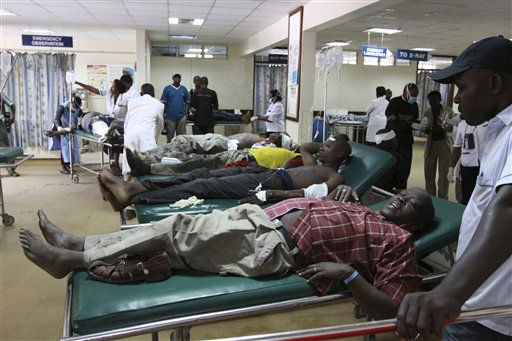 Victims from a blast receive medical attention at the Kenyatta hospital in Nairobi ,Kenya, Sunday, June, 5, 2011. An explosion in a highly populated area of downtown Nairobi on Sunday injured at least 29 people, and officials said an investigation is under way to determine if the blast was caused by terrorism.&#40;AP Photo&#47;Khalil Senosi&#41; <span class=meta>(AP Photo&#47; Khalil Senosi)</span>