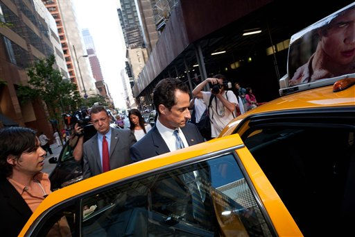 Democratic Rep. Anthony Weiner leaves a press conference where he confessed that he tweeted a bulging-underpants photo of himself to a young woman and admitted to &#34;inappropriate&#34; exchanges with six women before and after getting married at a press conference in the Sheridan Hotel in midtown, Monday, June 6, 2011, in New York. &#40;AP Photo&#47;John Minchillo&#41; <span class=meta>(AP Photo&#47; John Minchillo)</span>