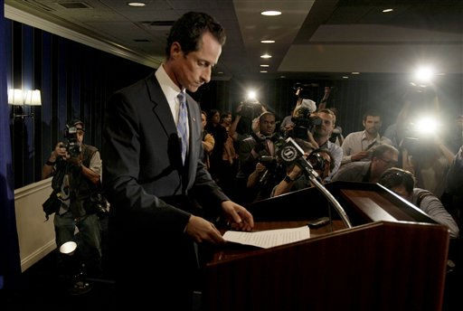 "<div class=""meta ""><span class=""caption-text "">U.S. Rep. Anthony Weiner, D-N.Y.,, arrives for a news conference in New York, Monday, June 6, 2011. After days of denials, a choked-up New York Democratic Rep. Anthony Weiner confessed Monday that he tweeted a bulging-underpants photo of himself to a young woman and admitted to ""inappropriate"" exchanges with six women before and after getting married. (AP Photo/Richard Drew) (AP Photo/ Richard Drew)</span></div>"