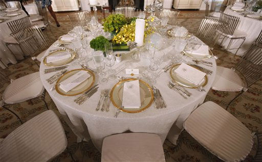 "<div class=""meta image-caption""><div class=""origin-logo origin-image ""><span></span></div><span class=""caption-text"">Place settings for the State Dinner in honor of German Chancellor Angela Merkel are seen during a preview for members of the media, Tuesday, June 7, 2011, in the State Dining Room of the White House in Washington. (AP Photo/Pablo Martinez Monsivais) (AP Photo/ Pablo Martinez Monsivais)</span></div>"