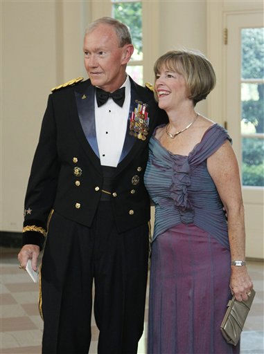 "<div class=""meta image-caption""><div class=""origin-logo origin-image ""><span></span></div><span class=""caption-text"">U.S. Army Chief of Staff General Martin Dempsey and his wife Deanie Dempsey arrive for a State Dinner hosted by President Barack Obama and first lady Michelle Obama in honor of German Chancellor Angela Merkel at the White House in Washington, Tuesday, June 7, 2011.  (AP Photo/Manuel Balce Ceneta) (AP Photo/ Manuel Balce Ceneta)</span></div>"