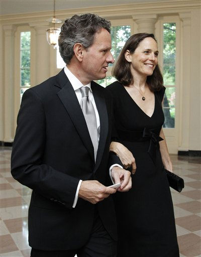 "<div class=""meta image-caption""><div class=""origin-logo origin-image ""><span></span></div><span class=""caption-text"">Treasury Secretary Timothy Geithner and his wife Carole Geithner arrive for a State Dinner hosted by President Barack Obama and first lady Michelle Obama in honor of German Chancellor Angela Merkel at the White House in Washington, Tuesday, June 7, 2011.  (AP Photo/Manuel Balce Ceneta) (AP Photo/ Manuel Balce Ceneta)</span></div>"