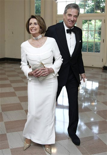 "<div class=""meta image-caption""><div class=""origin-logo origin-image ""><span></span></div><span class=""caption-text"">House Democratic Leader Nancy Pelosi, D-Calif., and her husband Paul Pelosi arrive for a State Dinner hosted by President Barack Obama and first lady Michelle Obama in honor of German Chancellor Angela Merkel at the White House in Washington, Tuesday, June 7, 2011.  (AP Photo/Manuel Balce Ceneta) (AP Photo/ Manuel Balce Ceneta)</span></div>"