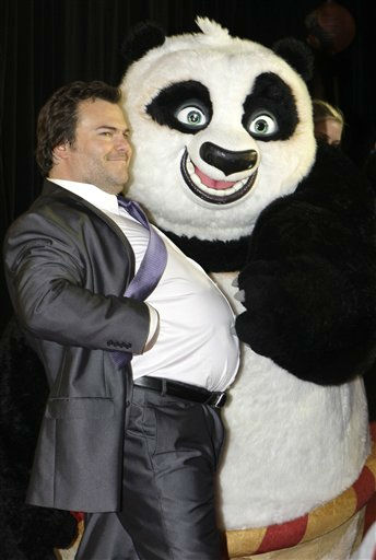 U.S. actor Jack Black poses with a panda character as he attends the Australian premiere of the movie Kung Fu Panda 2 in Sydney, Monday, June 13, 2011. &#40;AP Photo&#47;Rick Rycroft&#41; <span class=meta>(AP Photo&#47; Rick Rycroft)</span>