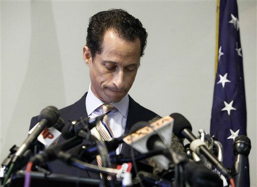 "<div class=""meta image-caption""><div class=""origin-logo origin-image ""><span></span></div><span class=""caption-text"">U.S. Rep. Anthony Weiner announces his resignation from Congress, in the Brooklyn borough of New York,  Thursday, June 16, 2011.  Weiner resigned from Congress, saying he cannot continue in office amid the intense controversy surrounding sexually explicit messages he sent online to several women.  (AP Photo/Richard Drew) (AP Photo/ Richard Drew)</span></div>"