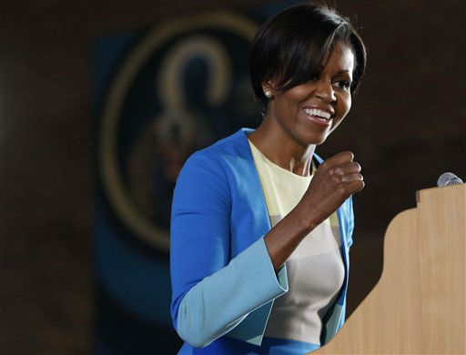 "<div class=""meta image-caption""><div class=""origin-logo origin-image ""><span></span></div><span class=""caption-text"">U.S. first lady Michelle Obama speaks at Regina Mundi Church and addresses the Young African Women Leaders Forum in a Soweto township, Johannesburg, South Africa, Wednesday, June 22, 2011. (AP Photo/Charles Dharapak, Pool) (Photo/Charles Dharapak)</span></div>"