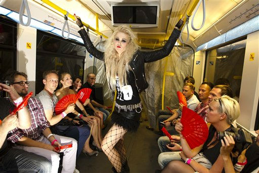 A model presents a fashion creation at the so called&#39; Underground Catwalk&#39; inside an underground train during the Berlin Fashion Week  2011, in Berlin, Germany, Wednesday, July 6, 2011.  The underground catwalk event was presented by several independent fashion labels as part of the Berlin Fashion Week.&#40;AP Photo&#47;Markus Schreiber&#41; <span class=meta>(AP Photo&#47; Markus Schreiber)</span>