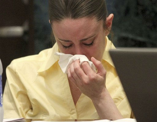 "<div class=""meta ""><span class=""caption-text "">Casey Anthony reacts while listening to the state's closing arguments in her murder trial in Orlando, Fla., Sunday, July 3, 2011. Anthony has plead not guilty to first-degree murder in the death of her daughter, Caylee, and could face the death penalty, if convicted. (AP Photo/Red Huber, Pool) (AP Photo/ Red Huber)</span></div>"