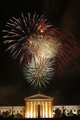 "<div class=""meta ""><span class=""caption-text "">Fireworks explode over the Philadelphia Museum of Art during an Independence Day celebration Monday, July 4, 2011, in Philadelphia. (AP Photo/Matt Rourke) (AP Photo/ Matt Rourke)</span></div>"