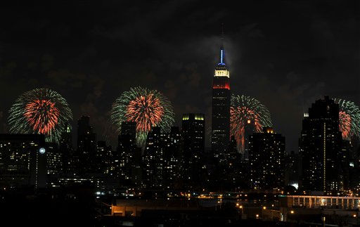 The Empire State Building, illuminated with red, white and blue lights is seen from across the East River in the Queens borough of New York, backlit by fireworks exploding over the Hudson River during the Macy&#39;s Fourth of July fireworks show on Monday, July 4, 2011 in New York. &#40;AP Photo&#47;Kathy Kmonicek&#41; <span class=meta>(AP Photo&#47; Kathy Kmonicek)</span>